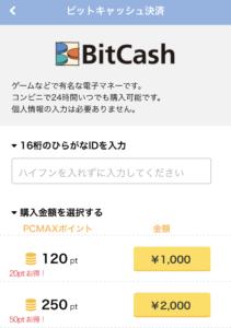 PCMAXでbitcashを入力