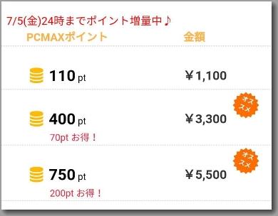 PCMAXのプリペイドカードのキャンペーンのポイント