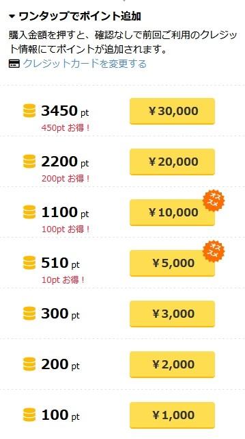 PCMAXのクレジットカードの料金